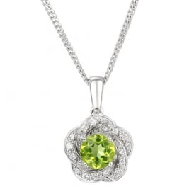 Sterling Silver & Peridot Floral Necklace