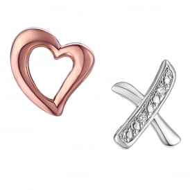 Sterling Silver & Rose Gold Love And Kisses Stud Earrings