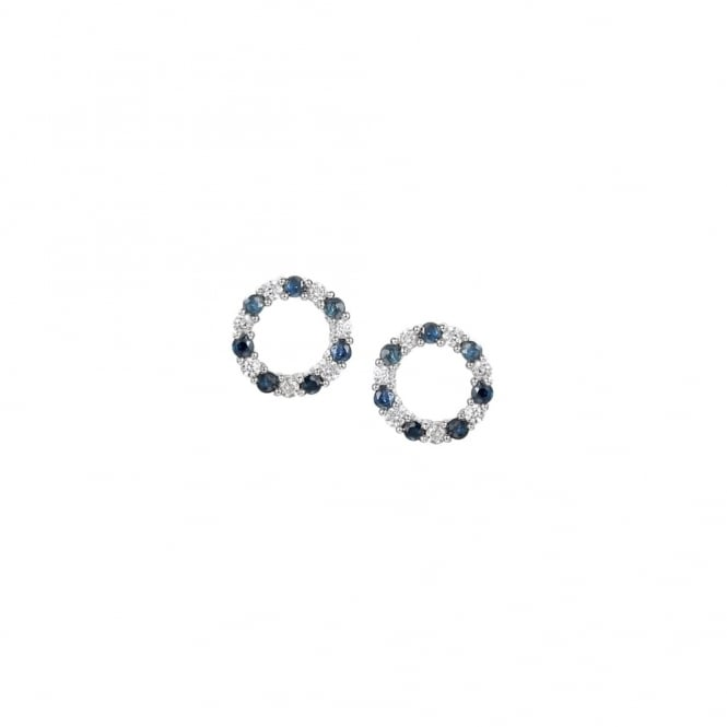 Amore Sterling Silver Sapphire Circle Stud Earrings