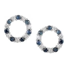 Sterling Silver Sapphire Circle Stud Earrings