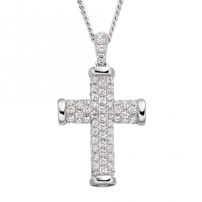 Amore Sterling Silver Sparkle Cross Necklace