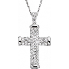 Sterling Silver Sparkle Cross Necklace