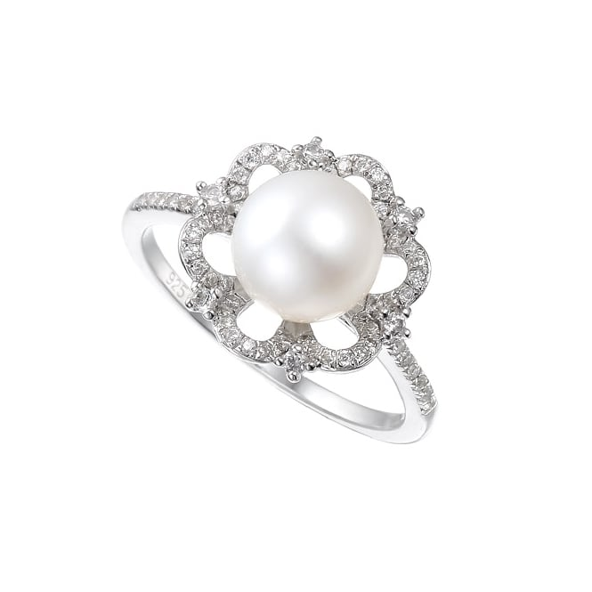 Amore Sterling Silver Vintage Pearl CZ Ring