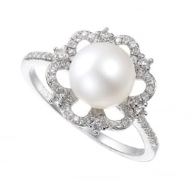 Sterling Silver Vintage Pearl CZ Ring