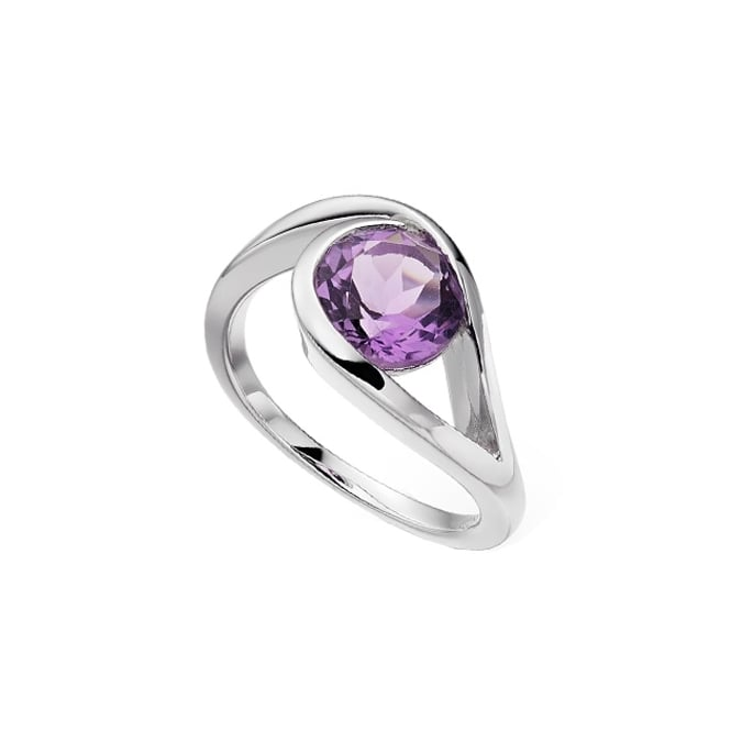 Amore Sterling Silver Viola Amethyst Swirl Ring