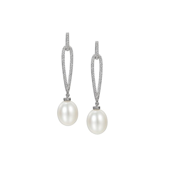 Amore Sterling Silver White Pearl Drop Earrings
