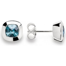 Silver And Blue Topaz Round Stud Earrings