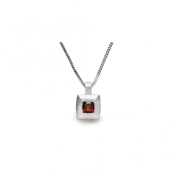 Bastian Inverun Silver And Garnet Square Pendant Necklace