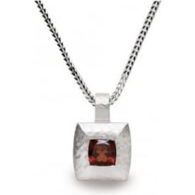 Silver And Garnet Square Pendant Necklace