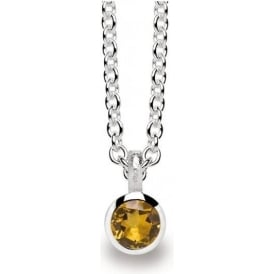 Sterling Silver And Citrine Drop Necklace