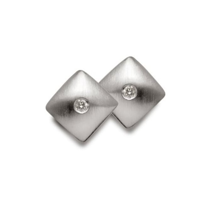Bastian Inverun Sterling Silver & Diamond Satin Finished Square Stud Earrings