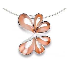 Sterling Silver & Rose Gold Ribbon Pendant