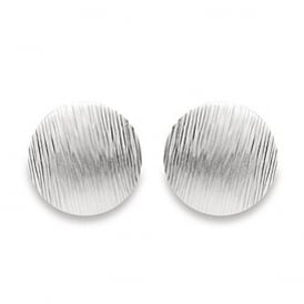 Sterling Silver Round Brushed Stud Earrings