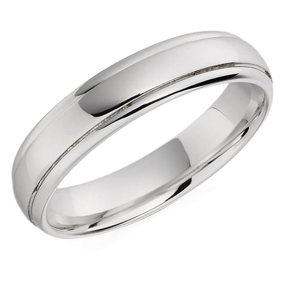 Mens White Gold Patterned Wedding Ring 133585244e