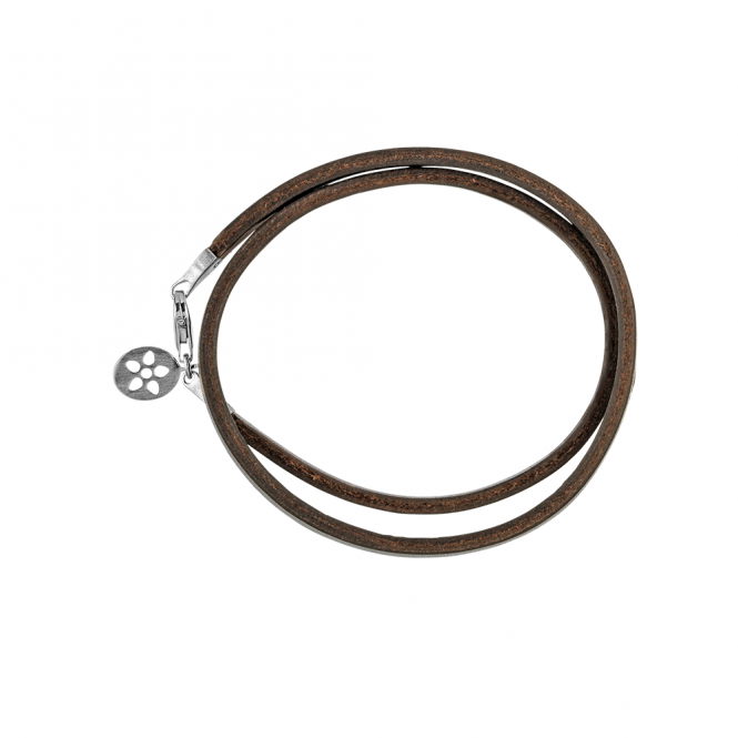 ByBiehl Brown Leather Bracelet With Sterling Silver Clasp