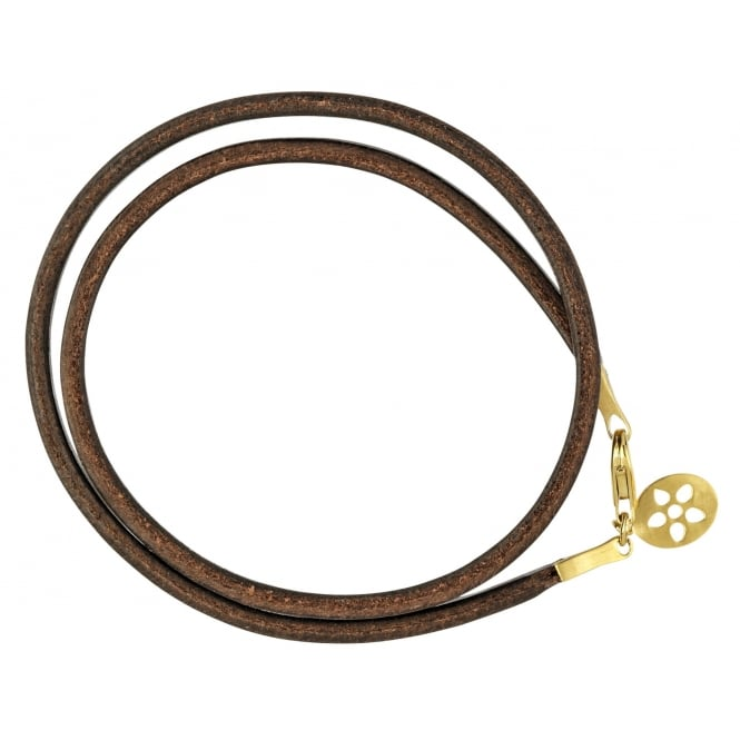 ByBiehl Brown Leather Gold Plated Clasp Bracelet