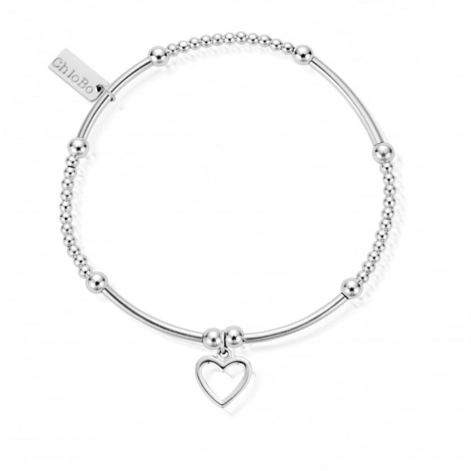 ChloBo Cute Mini Noodle Ball Open Heart Bracelet