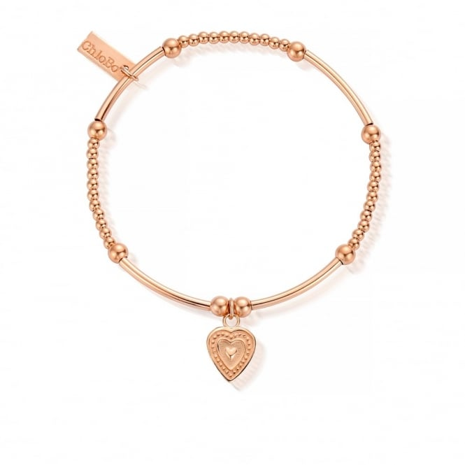 ChloBo Cute Mini Rose Gold Decorated Heart Bracelet