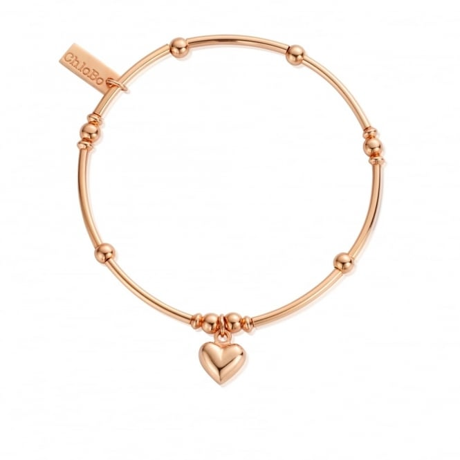 ChloBo Cute Rose Gold Mini Noodle Ball Puffed Heart Bracelet