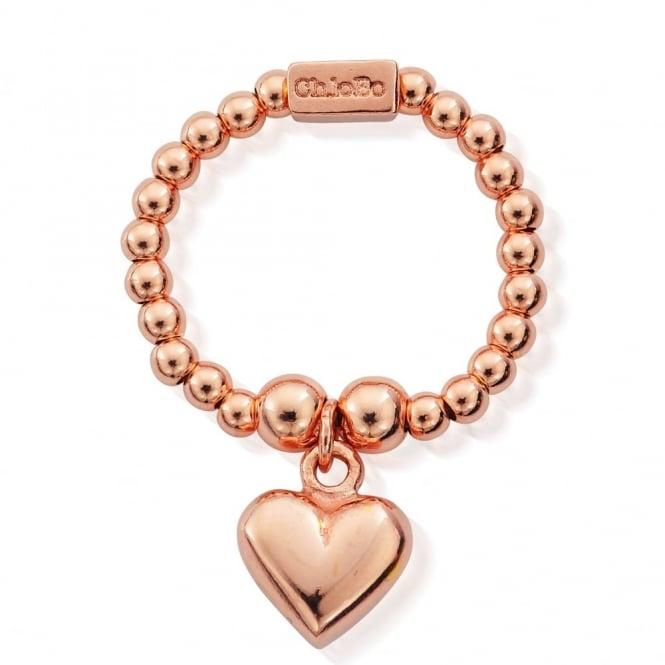 ChloBo Cute Rose Gold Mini Puffed Heart Ring