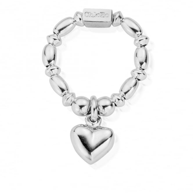 ChloBo Cute Silver Mini Rice Puffed Heart Ring