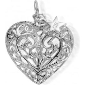 Iconics Large Silver Filigree Heart Pendant