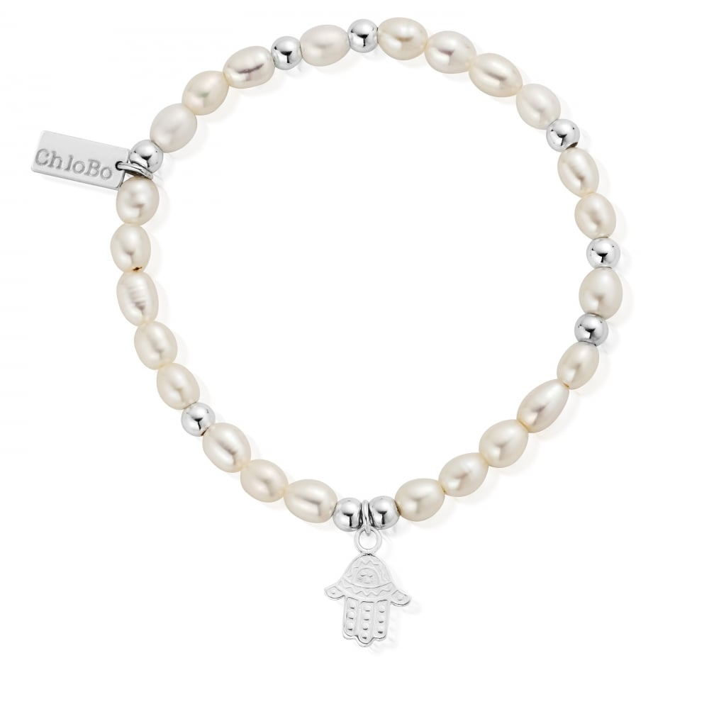Mini Pearl Decorated Hamsa Hand Bracelet