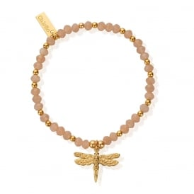 Peach Moonstone and Gold Plated Dancing Dragonfly Bracelet