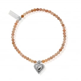 Peach Moonstone and Sterling Silver Graceful Heart Bracelet