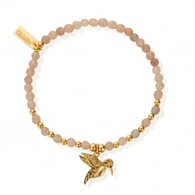Peach Moonstone & Gold Plated Dainty Humming Bird Bracelet