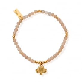 Peach Moonstone & Gold Plated Floating Lotus Bracelet