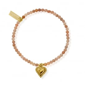 Peach Moonstone & Gold Plated Graceful Heart Bracelet