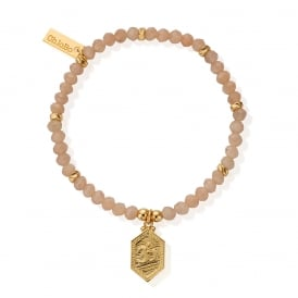 Peach Moonstone & Gold Plated Tranquil Om Bracelet