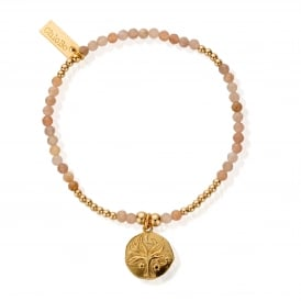 Peach Moonstone & Gold Plated Tree of Life Bracelet