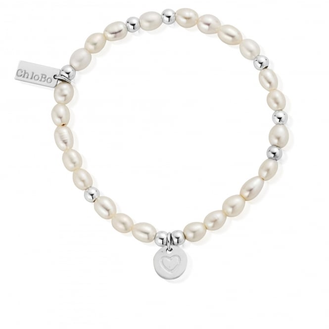 ChloBo Pearl And Silver Circle Heart Bracelet