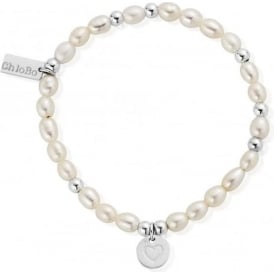 Pearl And Silver Circle Heart Bracelet