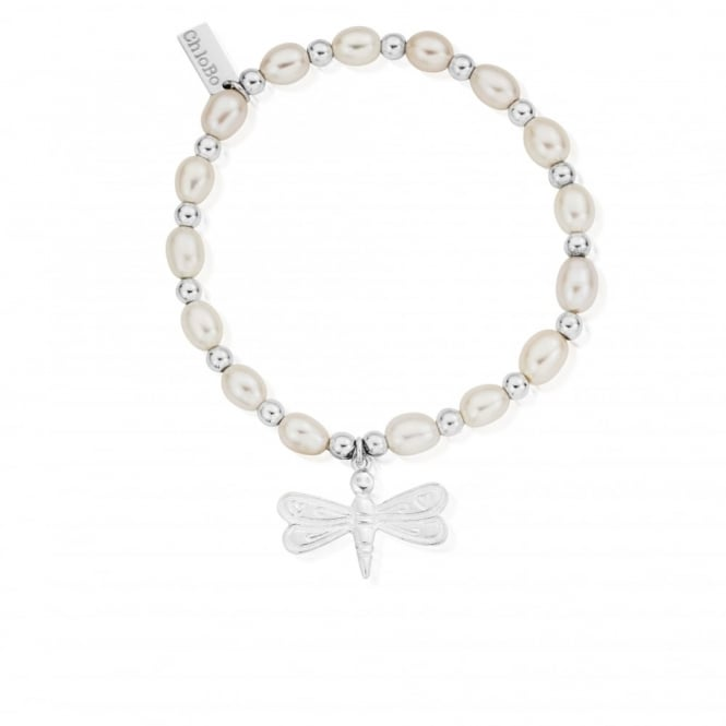 ChloBo Pearl And Silver Dragonfly Bracelet