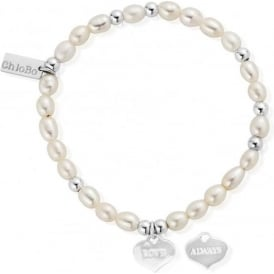 Pearl And Silver Love Always Mini Bracelet