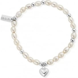 Pearl And Silver Puffed Heart Mini Bracelet