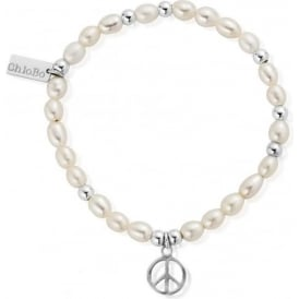 Pearl And Sterling Silver Peace Charm Bracelet