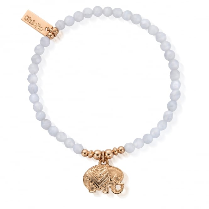 ChloBo Rose Gold & Blue Lace Agate Decorated Elephant Bracelet