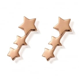 Rose Gold Shooting Stars Stud Earrings