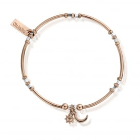 Rose Gold & Silver Dainty Moon And Sun Bracelet