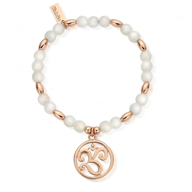 ChloBo Rose Gold & White Agate Om Disc Bracelet