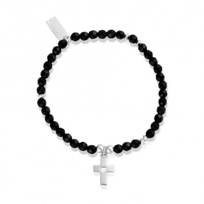 ChloBo Silver And Black Onyx Be Blessed Mini Disc Bracelet
