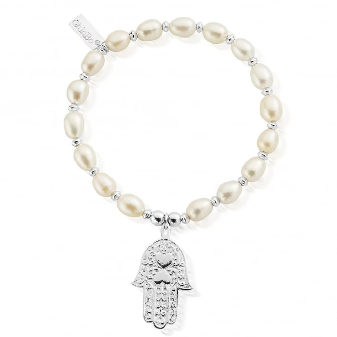 ChloBo Silver And Pearl Decorated Hamsa Hand Bracelet