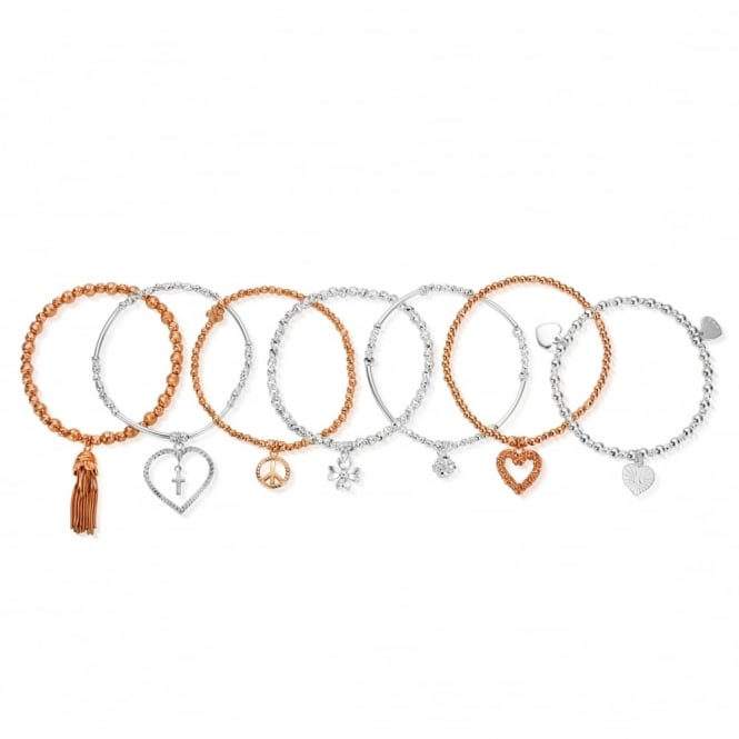 ChloBo Silver And Rose Gold Free Spirit Set Of 7 Stack