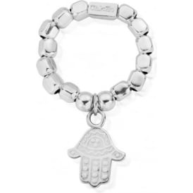 Silver Chunky Decorated Hamsa Hand Ring