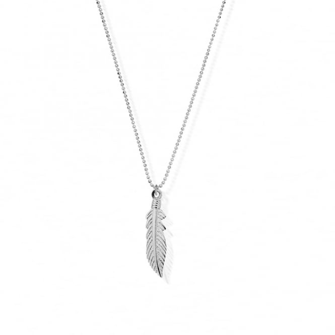 ChloBo Silver Diamond Cut Chain Feather Necklace