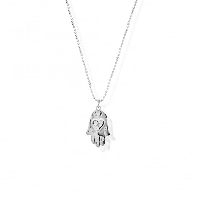 ChloBo Silver Diamond Cut Hamsa Hand Necklace